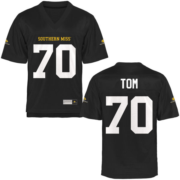 Men's Cameron Tom Southern Miss Golden Eagles Replica Gold Football Jersey Black