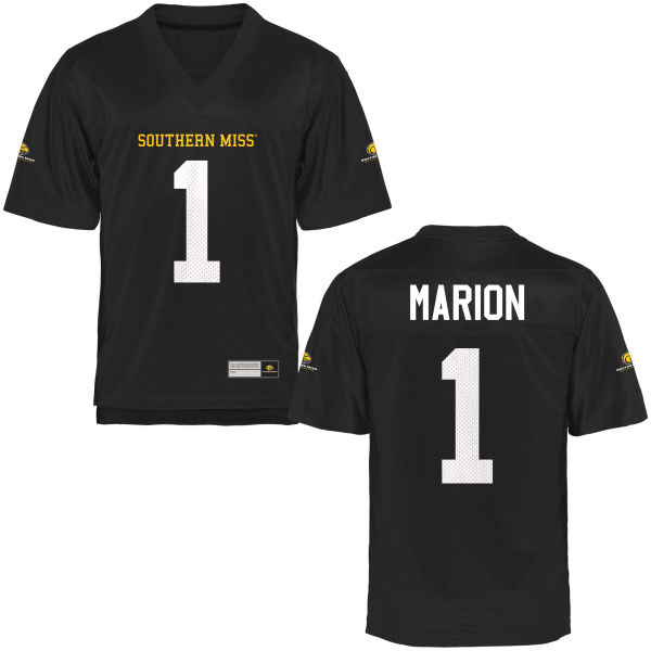 Youth Xavier Marion Southern Miss Golden Eagles Game Gold Football Jersey Black