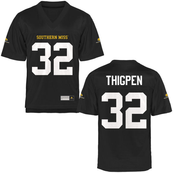 Men's Xavier Thigpen Southern Miss Golden Eagles Authentic Gold Football Jersey Black