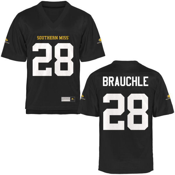 Men's Stephen Brauchle Southern Miss Golden Eagles Authentic Gold Football Jersey Black